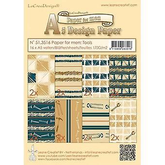 LeCrea Design A5 - Paper for Men Tools Blue/Brown (16 Sheets, 170gsm)