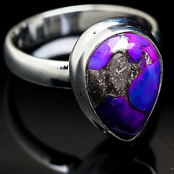 Purple Copper Composite Turquoise Ring Size 5.75 (925 Sterling Silver)  - Handmade Boho Vintage Jewelry RING3729