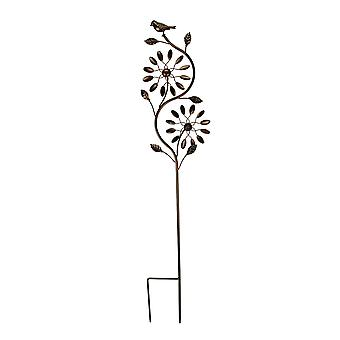 Bronze Finish Metal Art Flower Double Spinner Wind Sculpture Garden Stake, Ovals