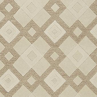 2' x 4' Ivory Diamond Wool Area Rug