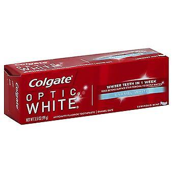 Óptica blanca anticaries crema dental de Colgate, menta luminoso, 3.5 oz