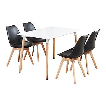Jamie Halo Dining Table Set With 4 Chairs