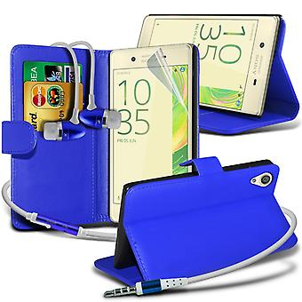 i-Tronixs Sony Xperia E5 Case PU Leather Wallet Flip Cover + Earphones -Blue