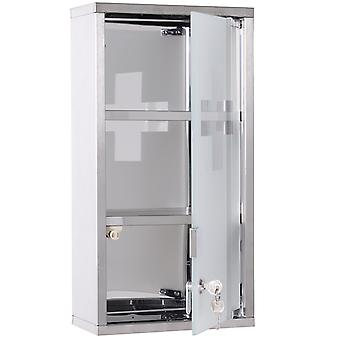 HOMCOM Stainless Steel wall mounted Medicine Cabinet with 2 Shelves + Security Glass Door Lockable 48 cm(H)