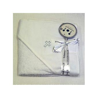Bath Cape / Towel With Silver Cross For Orthodox Baptism - Grace Of Sweden