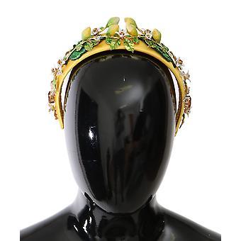 Dolce & Gabbana Yellow Sicily Lemon Crystal Floral Headband -- SMYK593648