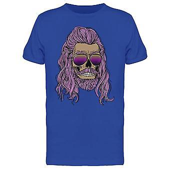 Crâne avec des cheveux, barbe, lunettes Tee Men-apos;s -Image par Shutterstock
