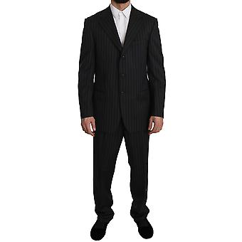 Z ZEGNA Black Striped Two Piece 3 Button Wool Suit -- KOS1729648