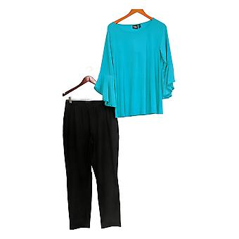 Women with Control Set Flounce Sleeve Top w/Ankle Pant Green A301383