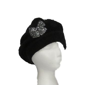 Serengeti Soft Angora Embellished Black Hat PTC