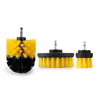 Electric Drill Cleaning Brush Set - Bathroom Surfaces Tub Shower Tile And Grout All Purpose Power Scrubber Cleaning Kit D30 Type - 3pcs Yellow