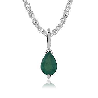 Classic Pear Emerald Pendant Necklace in 9ct White Gold 123P0256139