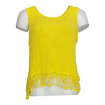 K Jordan Women's Top Tank Style w/ Crochet Knit Trim Yellow