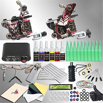 Professional Tattoo Machine Kit Sets 2 Machine Gun for Body Art- Inks Power Supply