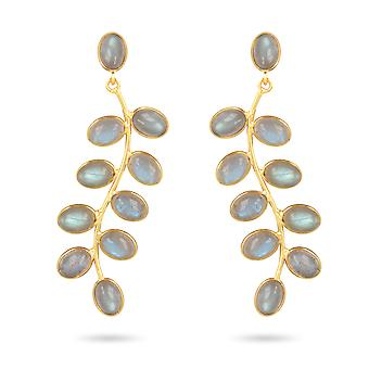 ADEN Gold Plated 925 Sterling Silver Labradorite Earrings (id 4453)