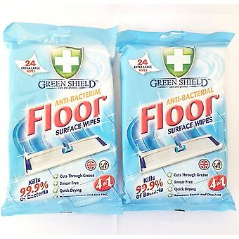 2 PACKS OF GREEN SHIELD ANTI BACTERIAL ANTI VIRAL FLOOR SURFACE CLEANING WIPES 24 EXTRA LARGE EACH