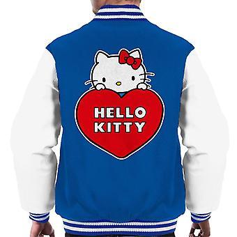 Hallo Kitty Peeking über Liebe Herz Männer's Varsity Jacke