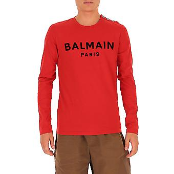Balmain Uh11270i398mab Men's Red Cotton Sweatshirt