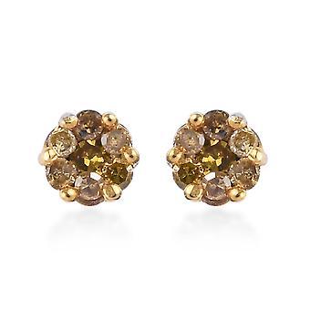 TJC Flower Yellow Diamond Oorbellen voor dames Platinum Plated Sterling Zilver