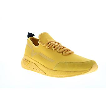Diesel S-Kby Stripe Mens Yellow Canvas Lace Up Lifestyle Sneakers Shoes