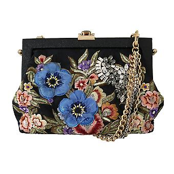 Black floral embroidered crystal shoulder vanda purse