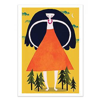 Art-Poster - Jätte flicka - Treechild