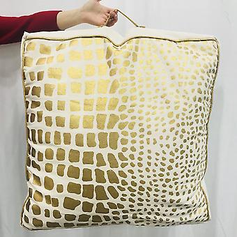Spura Accueil Metallic Handmade Snake Printed Gold Bean Bag Oreiller 2x2