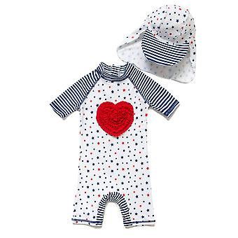 Bonverano Baby Girls UPF 52+ Sun Protection Short Sleeves Zipper Sunsuit