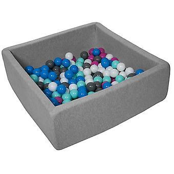 Hueso de bola cuadrada 90x90 cm con 150 bolas blancas, azules, púrpuras, grises y turquesas