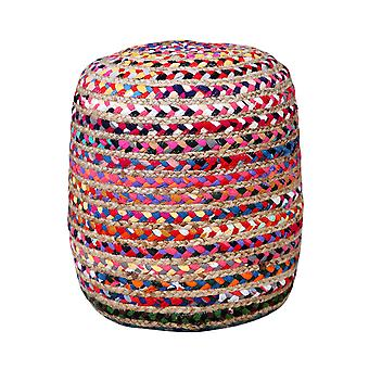Spura Home Hand Knit Jute Multi Chindi Pouf Soft Seating Home Décor