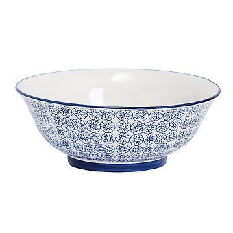 Nicola Spring Hand-Printed Salad Bowl - Japanese Style Porcelain Fruit Pasta Serving Bowls - Navy - 21.5cm