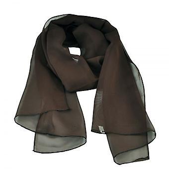 Krawatten Planet Plain dunkel braun Chiffon Schal