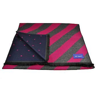 Ties Planet Lupi Romani Fuchsia Pink & Grey Striped & Navy & Fuchsia Pink Polka Dot Patterned Double Face Scarf