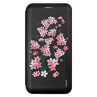 Caso para Xiaomi Redmi 9 Negro Patrón Sakura Flores