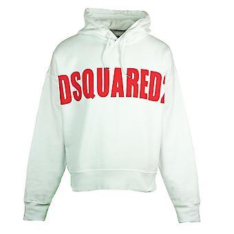 Dsquared2 شعار كبير كبير هوديي الأبيض الحجم