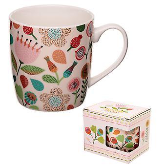磁器マグカップ秋の滝花のデザインX 1パック