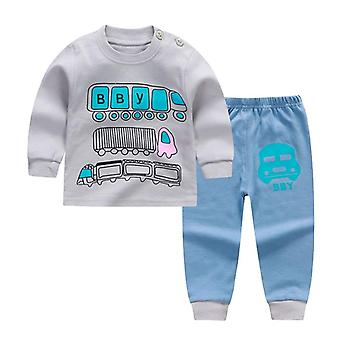Autumn Spring Cartoon Print Baby Pajamas Sets Cotton Sleepwear Long Sleeve