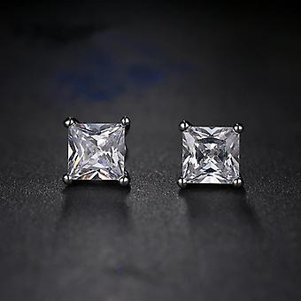 Quadratische Diamant Kristall Sterling Silber Ohrstecker