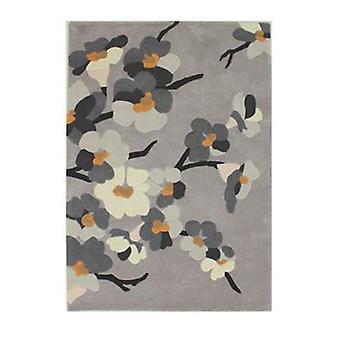 Unendliche Blüte Teppich - rechteckig - grau/ocker