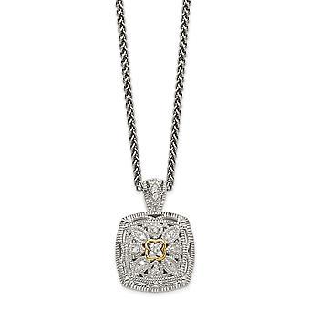 925 Sterling hopea kuvioitu kiillotettu prong asetettu Hummeri Kynsien sulkeminen 14k Timantti kaulakoru Korut Lahjat naisille