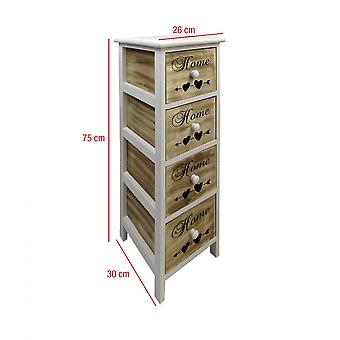 Rebecca Furniture Chest of Drawers Mobile Bathroom 4 Drawers White Wood Brown 75x26x30