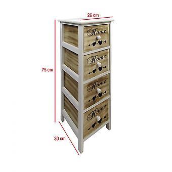 Rebecca Möbel Kommode Mobile Badezimmer 4 Schubladen weiß Holz braun 75x26x30