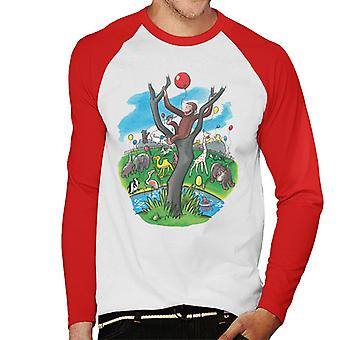 Curious George In A Tree At The Zoo Men's Baseball Long Sleeved T-Shirt