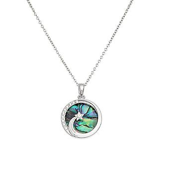 Eternal Collection Shooting Star Paua Shell And Crystal Silver Tone Pendant