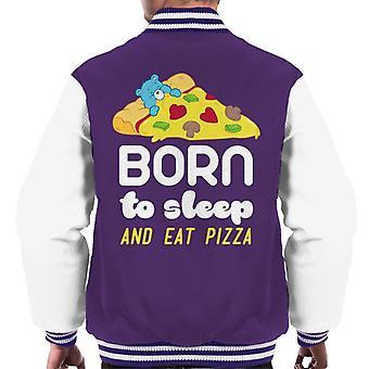 Opieka Niedźwiedzie Bedtime Bear Born To Sleep And Eat Pizza Męska kurtka varsity