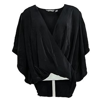 Lisa Rinna Collection Women's Top Cross Over V-Neck Blouse Black A308836