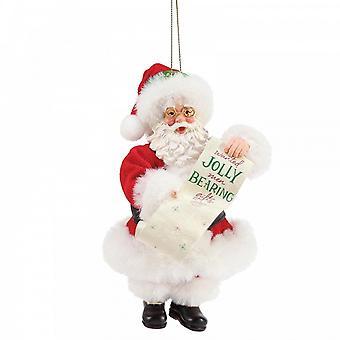 Department 56 Wanted Jolly Men Bearing Gifts Santa Claus Hanging Ornament