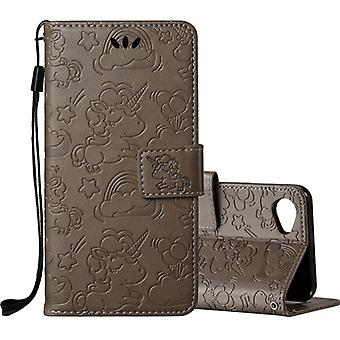 Pour LG Q6 Pressed Horse Cloud Print Horizontal Flip Leather Case with Holder & Fentes de carte & Portefeuille & Lanyard (Brun)