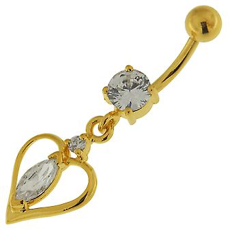 3 Micron 18K Yellow Gold Plated Clear CZ Stone Heart Design Dangling Sterling Silver Belly Bars Piercing
