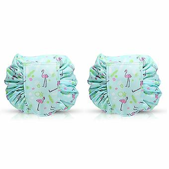 Envie Travel Cosmetic Drawstring Polyester Bag Pouch, Pack of 2, Turquoise